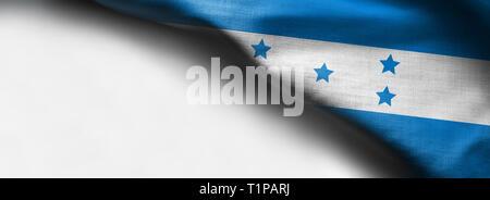 Fabric Flag of Honduras on white background - right top corner flag - Stock Photo
