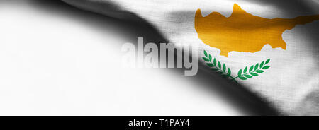 Cyprus flag waving on white background - right top corner flag - Stock Photo