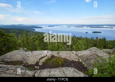 Summer landscape view over the lake Pielinen from the top of the UkkoKoli, a fell at the national park Koli, Joensuu, Finland, the land of a thousand  - Stock Photo
