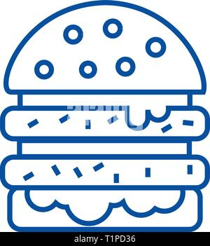 Cheeseburger line icon concept. Cheeseburger flat  vector symbol, sign, outline illustration. - Stock Photo