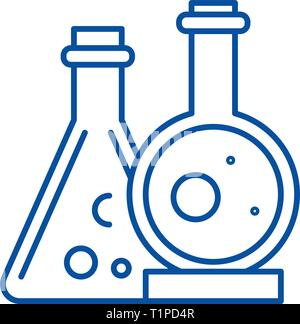 Chemical laboratory line icon concept. Chemical laboratory flat  vector symbol, sign, outline illustration. - Stock Photo