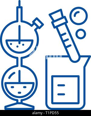Chemistry line icon concept. Chemistry flat  vector symbol, sign, outline illustration. - Stock Photo