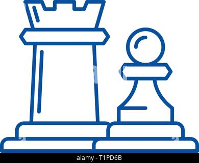 Chess pieces rook and pawn line icon concept. Chess pieces rook and pawn flat  vector symbol, sign, outline illustration. - Stock Photo
