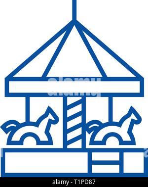 Children's merry go round  line icon concept. Children's merry go round  flat  vector symbol, sign, outline illustration. - Stock Photo