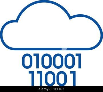 Cloud service,digits zero one,binary code line icon concept. Cloud service,digits zero one,binary code flat vector symbol, sign, outline illustration - Stock Photo
