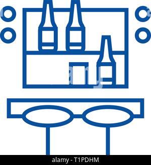 Cocktail bar line icon concept. Cocktail bar flat  vector symbol, sign, outline illustration. - Stock Photo