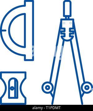 Compass, sharpener, ruler line icon concept. Compass, sharpener, ruler flat  vector symbol, sign, outline illustration. - Stock Photo