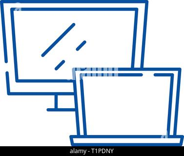 Computer monitor line icon concept. Computer monitor flat  vector symbol, sign, outline illustration. - Stock Photo