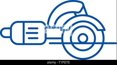 Construction tools,jigsaw cutter line icon concept. Construction tools,jigsaw cutter flat  vector symbol, sign, outline illustration. - Stock Photo