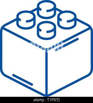Constructor bricks line icon concept. Constructor bricks flat  vector symbol, sign, outline illustration. - Stock Photo