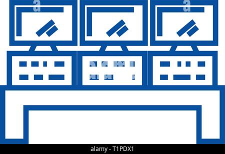 Control system line icon concept. Control system flat  vector symbol, sign, outline illustration. - Stock Photo