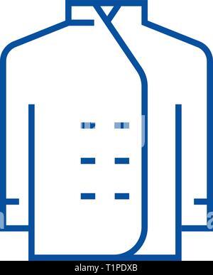 Cook dress line icon concept. Cook dress flat  vector symbol, sign, outline illustration. - Stock Photo