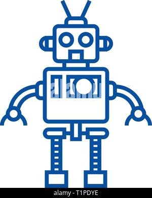 Cool robot line icon concept. Cool robot flat  vector symbol, sign, outline illustration. - Stock Photo