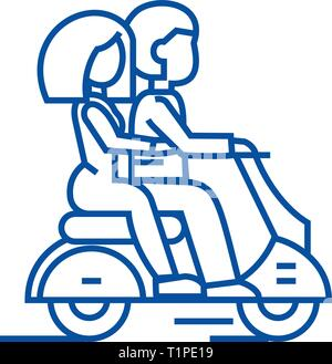 Couple in love riding a scooter line icon concept. Couple in love riding a scooter flat  vector symbol, sign, outline illustration. - Stock Photo