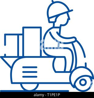 Courier on a motor scooter line icon concept. Courier on a motor scooter flat  vector symbol, sign, outline illustration. - Stock Photo