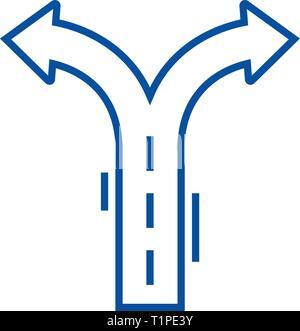 Crossroad arrows line icon concept. Crossroad arrows flat  vector symbol, sign, outline illustration. - Stock Photo