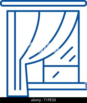 Curtains line icon concept. Curtains flat  vector symbol, sign, outline illustration. - Stock Photo