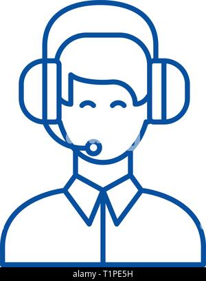Customer support line icon concept. Customer support flat  vector symbol, sign, outline illustration. - Stock Photo