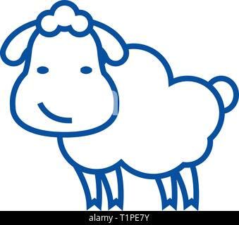 Cute sheep line icon concept. Cute sheep flat  vector symbol, sign, outline illustration. - Stock Photo