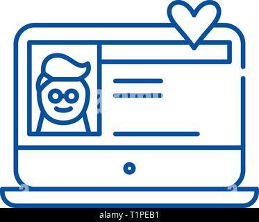 Dating service line icon concept. Dating service flat  vector symbol, sign, outline illustration.