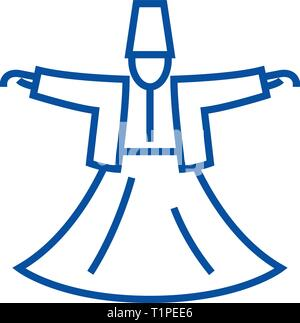 Dervish dance,islam line icon concept. Dervish dance,islam flat  vector symbol, sign, outline illustration. - Stock Photo