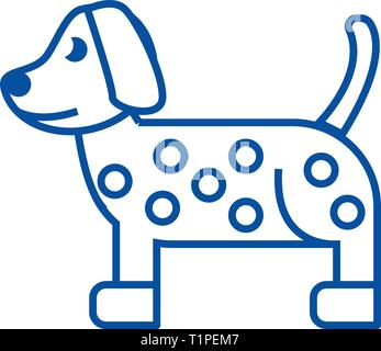 Dog, dalmatian line icon concept. Dog, dalmatian flat  vector symbol, sign, outline illustration. - Stock Photo
