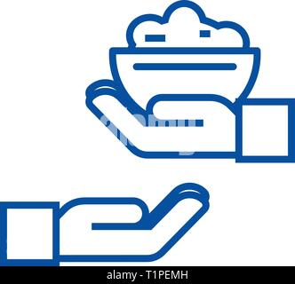 Donate food line icon concept. Donate food flat  vector symbol, sign, outline illustration. - Stock Photo
