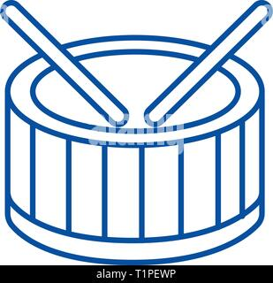 Drums line icon concept. Drums flat  vector symbol, sign, outline illustration. - Stock Photo