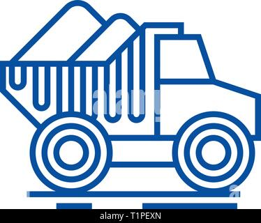 Dumper truck with sand line icon concept. Dumper truck with sand flat  vector symbol, sign, outline illustration. - Stock Photo