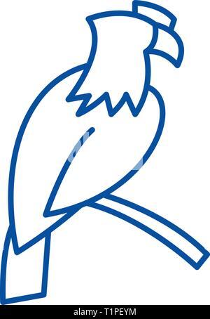 Eagle line icon concept. Eagle flat  vector symbol, sign, outline illustration. - Stock Photo