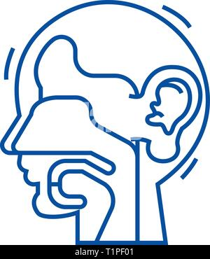 Ear, nose, and throat,ent line icon concept. Ear, nose, and throat,ent flat  vector symbol, sign, outline illustration. - Stock Photo