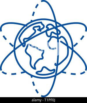 Earth planet line icon concept. Earth planet flat  vector symbol, sign, outline illustration. - Stock Photo