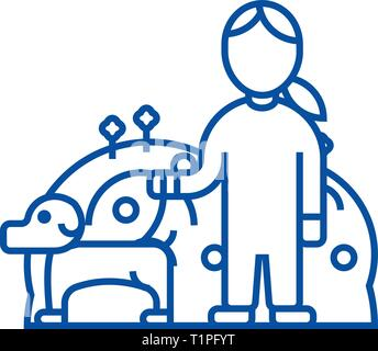 Pets care,dog with woman,animal care line icon concept. Pets care,dog with woman,animal care flat  vector symbol, sign, outline illustration. - Stock Photo