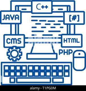 Programming,coding,wed developer line icon concept. Programming,coding,wed developer flat  vector symbol, sign, outline illustration. - Stock Photo