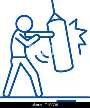 Punchbag line icon concept. Punchbag flat  vector symbol, sign, outline illustration. - Stock Photo