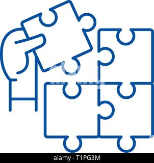 Puzzle pieces line icon concept. Puzzle pieces flat  vector symbol, sign, outline illustration. - Stock Photo