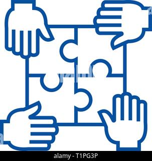 Puzzle with four hands,partnership line icon concept. Puzzle with four hands,partnership flat  vector symbol, sign, outline illustration.