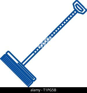 Rake,raker line icon concept. Rake,raker flat  vector symbol, sign, outline illustration. - Stock Photo