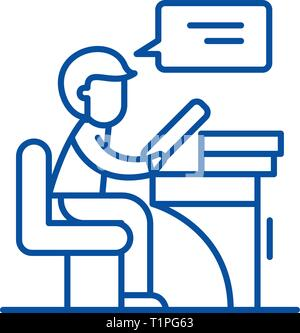Reader line icon concept. Reader flat  vector symbol, sign, outline illustration. - Stock Photo