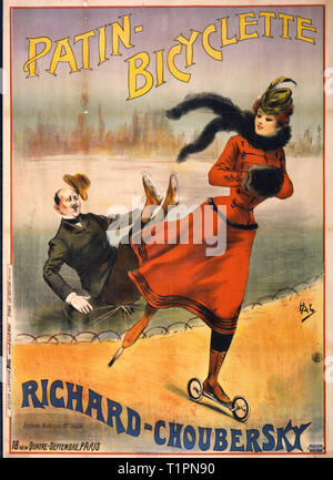 Patin-bicyclette -- Richard-Choubersky - Poster showing a man on ice skates fallen down on the ice on a pond in a park and a woman skating past on wheeled-skates on a walkway next to the pond. 1890s - Stock Photo