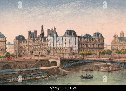Paris. Hotel de Ville - Print shows a view of the Hotel de ville in Paris, France, from across the Seine River, with barges on the river and a bridge on the right. Circa 1870 - Stock Photo