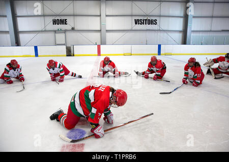 Players of the Selección femenil de México de hockey sobre hielo, stretch during a training session over the course of a 3-day intensive training week-end at the Winter Sports Center Metepec in Metepec, State of Mexico, Mexico on March 9, 2019. Founded in 2012, the Selección femenil de México de hockey sobre hielo is the first and only women's national ice hockey team in Mexico, a country where ice rinks are expensive and rare. In the 2017 IIHF Women's World Championship Division II in Iceland, the team defied expectations; They wonGroup B, securing their promotion to Group A,andbecamethe  - Stock Photo