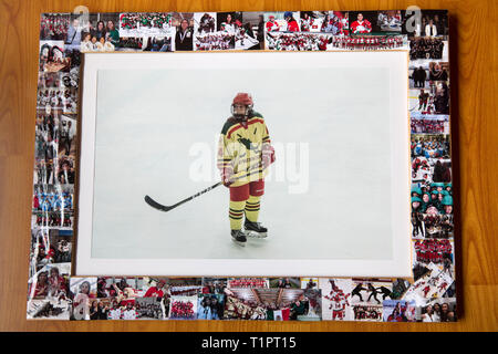 A collection of old ice hockey photos of Macarena Cruz Ceballos, 23, one of the defenders of the Selección femenil de México de hockey sobre hielo, hangs in her home in Mexico City, Mexico on March 17, 2019. Macarena lives with her parents in San Jerónimo Lídice, an affluent residential neighborhood in Mexico City. Her brother lives in Canada, where he plays ice hockey in the Junior League. She studies economics and finance at the Monterrey Institute of Technology, at the Mexico City campus. She started figure skating at age 5 and ice hockey at age 12. She is one of the assistant captains of t - Stock Photo