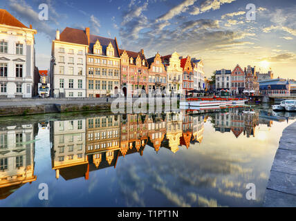 Ghent town with old house at sunset, Belgium - Stock Photo