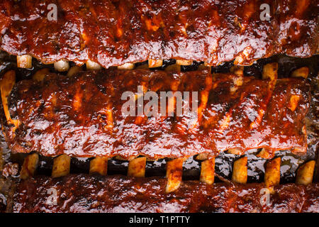 Grilled Spicy Hot Spare Pork Ribs Barbecue - Stock Photo