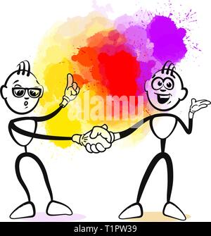 Business handshake stickman. Hand-drawn vector illustration, creative backdrops series. - Stock Photo