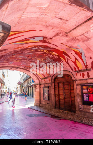 Pink Street in Lisbon, Portugal. - Stock Photo