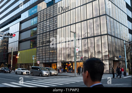 01.01.2018, Tokyo, Japan, Asia - Street scene with House of Dior and Celine stores along Chuo-Dori Avenue in the Ginza district of Japan's capital. - Stock Photo