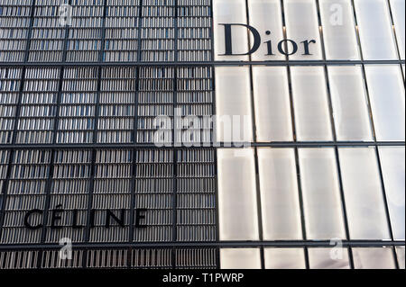 01.01.2018, Tokyo, Japan, Asia - Dior and Celine company logos are seen on building facades in the Ginza district of Japan's capital city. - Stock Photo