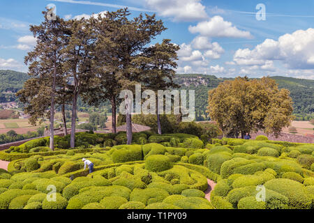 The Marqueyssac Gardens are located next to the Château de Marqueyssac, Dordogne, France. They are high up on a cliff top above the Dordogne Valley. - Stock Photo